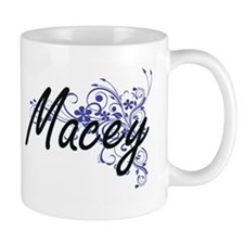 Macey Artistic Name Design with Flowers Mugs