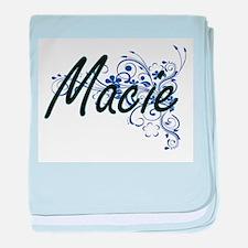 Macie Artistic Name Design with Flowe baby blanket