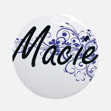 Macie Artistic Name Design with Flo Round Ornament