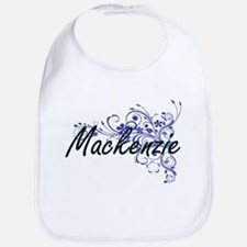 Mackenzie Artistic Name Design with Flowers Bib