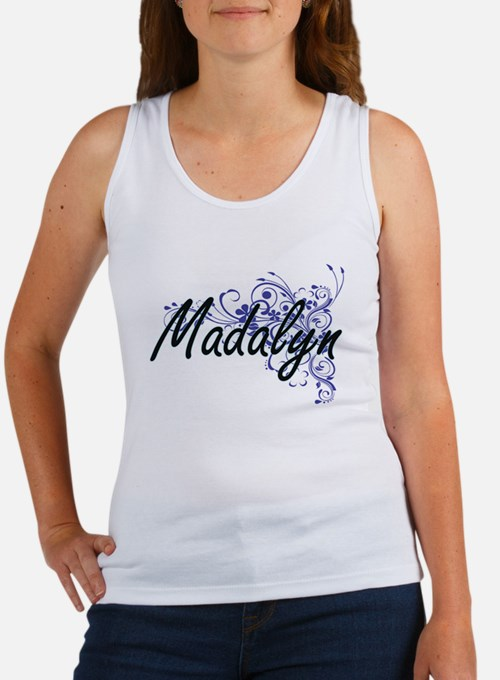 Madalyn Artistic Name Design with Flowers Tank Top