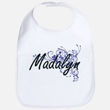 Madalyn Artistic Name Design with Flowers Bib