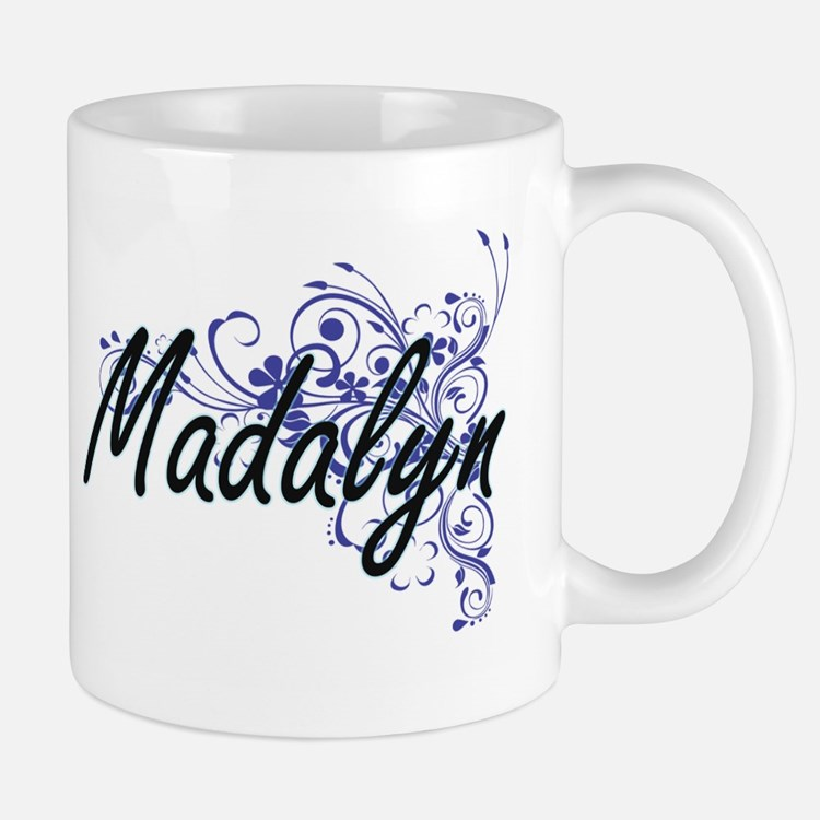 Madalyn Artistic Name Design with Flowers Mugs