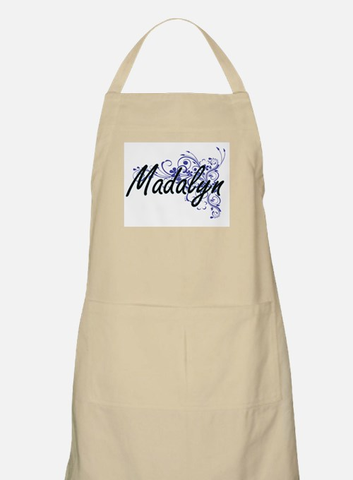 Madalyn Artistic Name Design with Flowers Apron