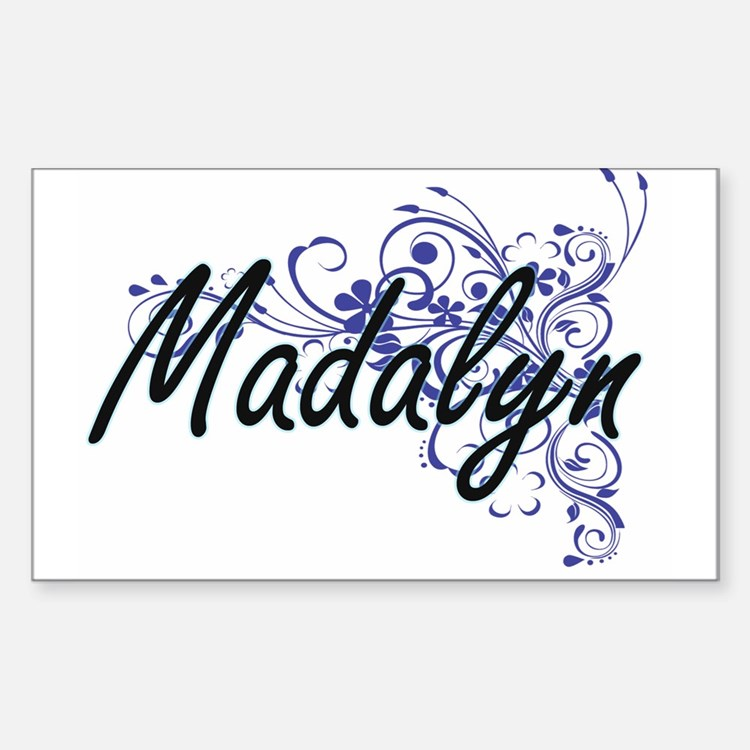 Madalyn Artistic Name Design with Flowers Decal