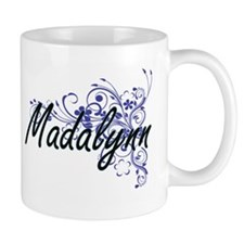 Madalynn Artistic Name Design with Flowers Mugs