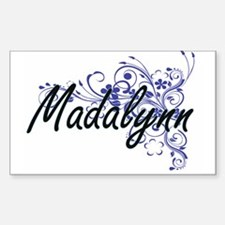 Madalynn Artistic Name Design with Flowers Decal
