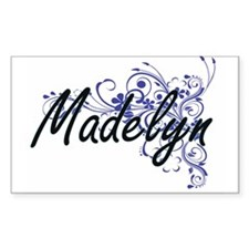 Madelyn Artistic Name Design with Flowers Decal