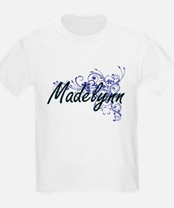 Madelynn Artistic Name Design with Flowers T-Shirt