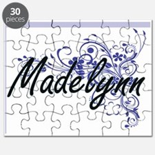 Madelynn Artistic Name Design with Flowers Puzzle