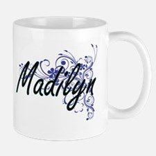 Madilyn Artistic Name Design with Flowers Mugs