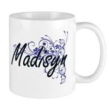 Madisyn Artistic Name Design with Flowers Mugs