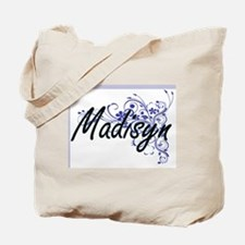 Madisyn Artistic Name Design with Flowers Tote Bag