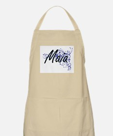 Maia Artistic Name Design with Flowers Apron
