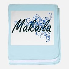 Makaila Artistic Name Design with Flo baby blanket