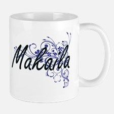 Makaila Artistic Name Design with Flowers Mugs