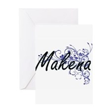 Makena Artistic Name Design with Fl Greeting Cards