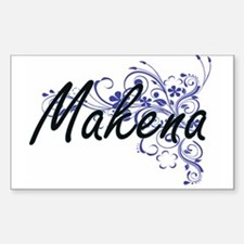 Makena Artistic Name Design with Flowers Decal