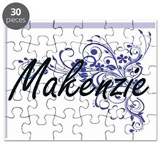 Makenzie Artistic Name Design with Flowers Puzzle