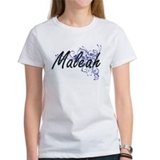 Maleah Artistic Name Design with Flowers T-Shirt