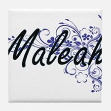 Maleah Artistic Name Design with Flow Tile Coaster