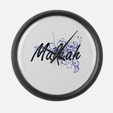 Maleah Artistic Name Design with Large Wall Clock