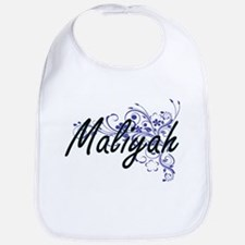 Maliyah Artistic Name Design with Flowers Bib