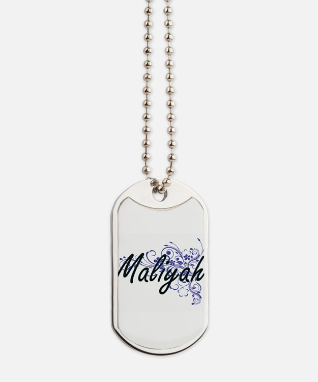 Maliyah Artistic Name Design with Flowers Dog Tags