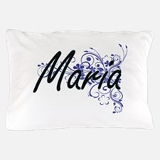 Maria Artistic Name Design with Flower Pillow Case