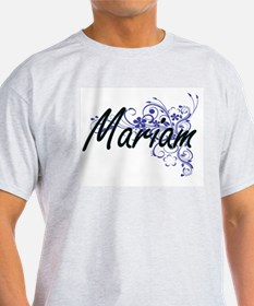 Mariam Artistic Name Design with Flowers T-Shirt