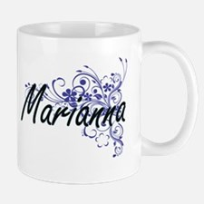 Marianna Artistic Name Design with Flowers Mugs