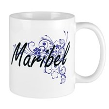 Maribel Artistic Name Design with Flowers Mugs