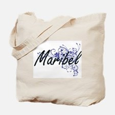 Maribel Artistic Name Design with Flowers Tote Bag