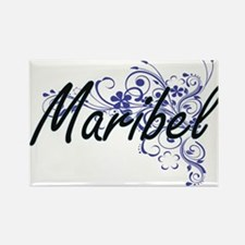 Maribel Artistic Name Design with Flowers Magnets