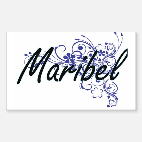 Maribel Artistic Name Design with Flowers Decal