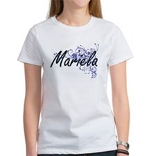 Mariela Artistic Name Design with Flowers T-Shirt