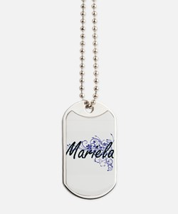Mariela Artistic Name Design with Flowers Dog Tags