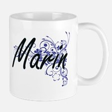Marin Artistic Name Design with Flowers Mugs