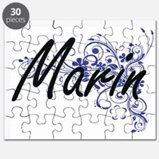 Marin Artistic Name Design with Flowers Puzzle
