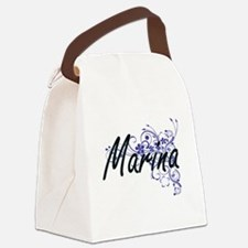 Marina Artistic Name Design with Canvas Lunch Bag