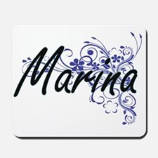 Marina Artistic Name Design with Flowers Mousepad