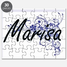 Marisa Artistic Name Design with Flowers Puzzle