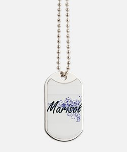 Marisol Artistic Name Design with Flowers Dog Tags