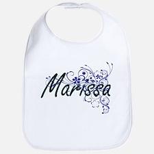 Marissa Artistic Name Design with Flowers Bib
