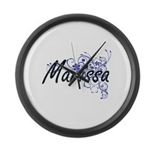 Marissa Artistic Name Design with Large Wall Clock