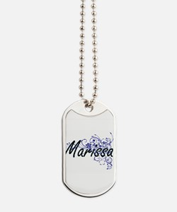Marissa Artistic Name Design with Flowers Dog Tags