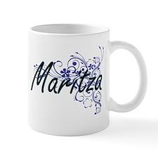 Maritza Artistic Name Design with Flowers Mugs