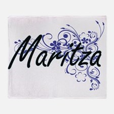 Maritza Artistic Name Design with Fl Throw Blanket