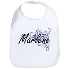 Marlene Artistic Name Design with Flowers Bib
