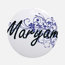 Maryam Artistic Name Design with Fl Round Ornament